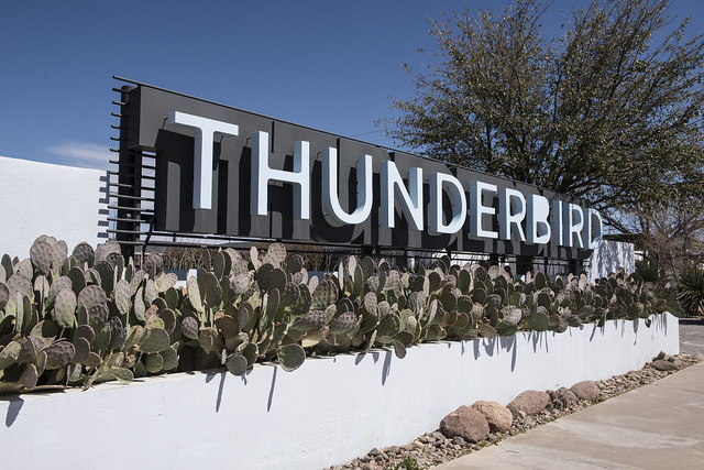 Modernist sign for the Thunderbird Motel in Marfa, a community known for its art galleries and other art installations, in Presidio County, Texas