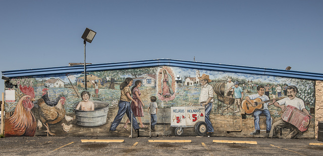 "[Mural, ""El Barrio on my mind"" near the Mission Concepcion, San Antonio, Texas]"
