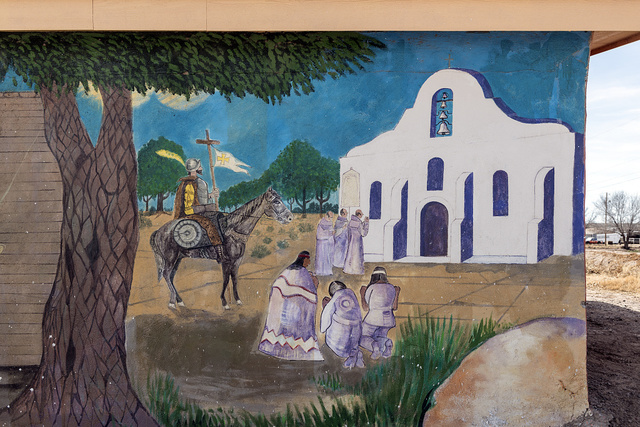 Mural in town, depicting the chapel of San Elizario, founded in 1789, which is often mistaken for a Spanish mission, since it lies quite near two missions in nearby El Paso, Texas