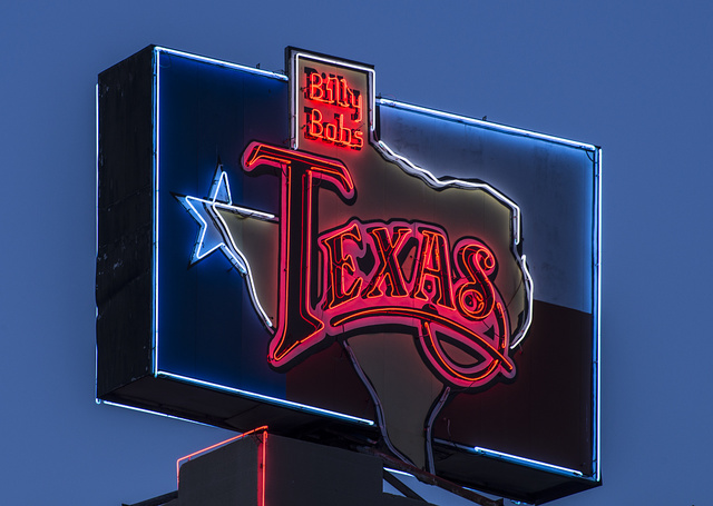 Neon sign for Billy Bob's western nighclub and honky-tonk bar in Fort Worth, Texas
