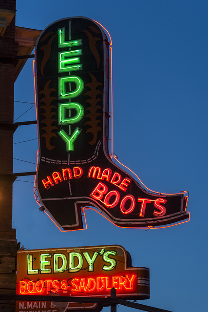 Neon sign for the Leddy's boot company in the Stockyards District of Fort Worth, Texas