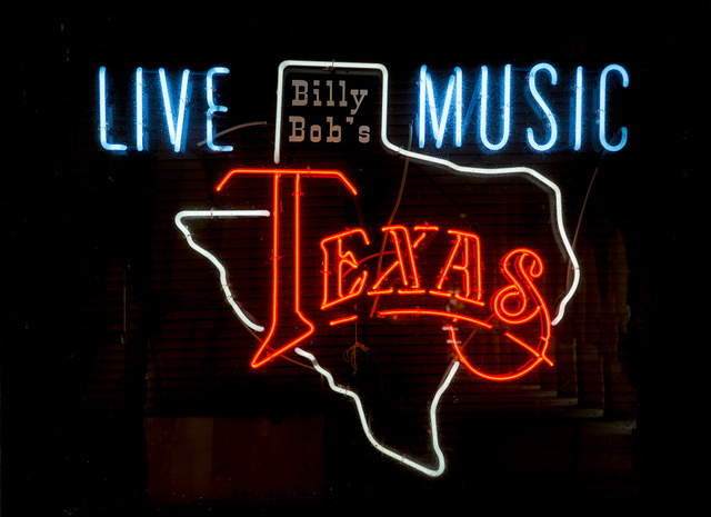 Neon sign outside a bar, not Billy Bob's, which is a separate night club and dance hall nearby, in the Stockyards District of Fort Worth, Texas
