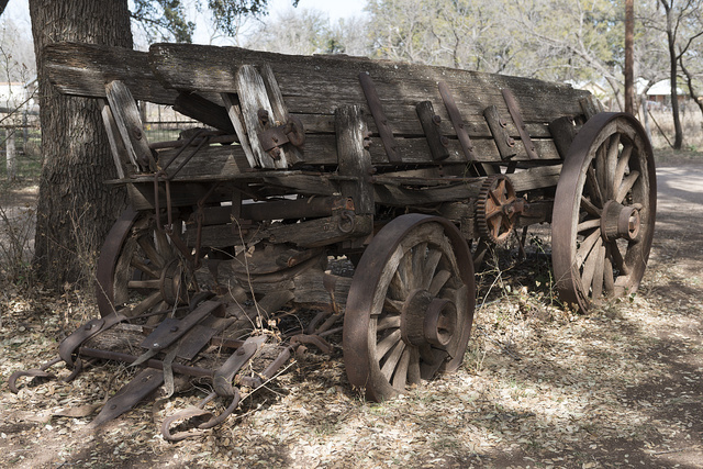 Old freight wagon at the Buffalo Gap Historic Village in the unincorporated Taylor County, Texas, town of the same name, near Abilene