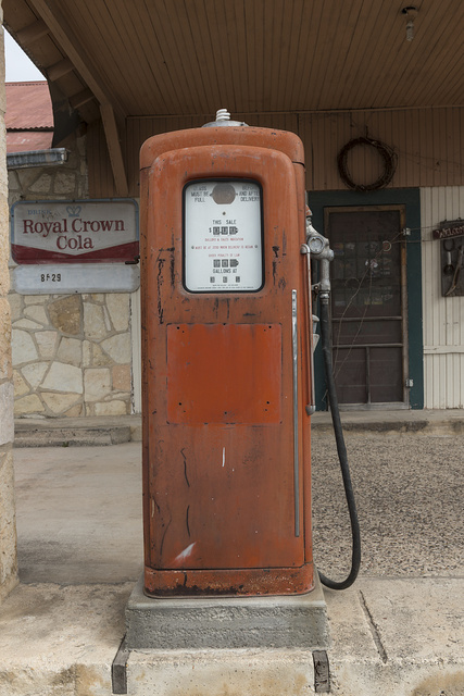Old gas pump near Pipe Creek in Bandera County, Texas