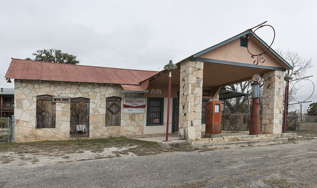 Old gas station and pumps near Pipe Creek in Bandera County, Texas