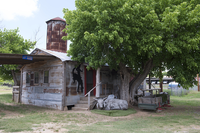 Old metal cotton gin and volunteer fire department headquarters in the town of Grand Saline in Van Zandt County in northeast Texas