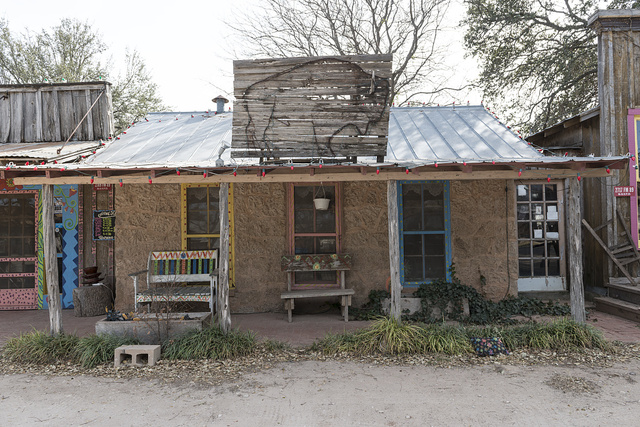 Old store with artistic touches in Buffalo Gap, a historic town near Abilene, Texas