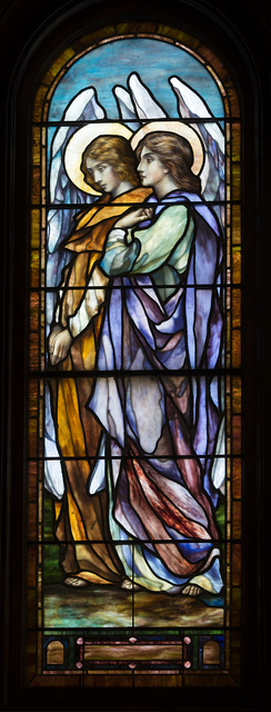 One of 49 Victorian-era stained-glass windows, by the acclaimed J&R Lamb Studios inside the First Presbyterian Church in Orange, Texas