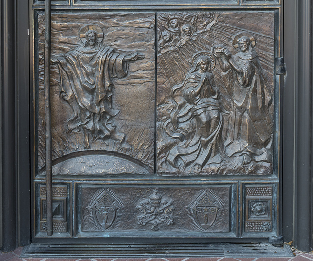 One of several elaborate doorways at Saint Anthony Cathedral Basilica, the cathedral of the Roman Catholic Diocese of Beaumont, Texas
