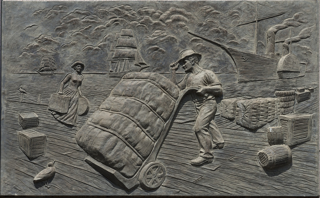 One of six 11-by-16-foot concrete panels portraying a moment in Texas history on the wall of the Bob Bullock State History Museum in Austin, Texas