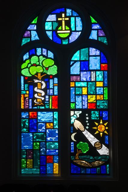 One of the clerestory stained-glass windows at Our Lady of Guadalupe Catholic Church in Mission, Texas