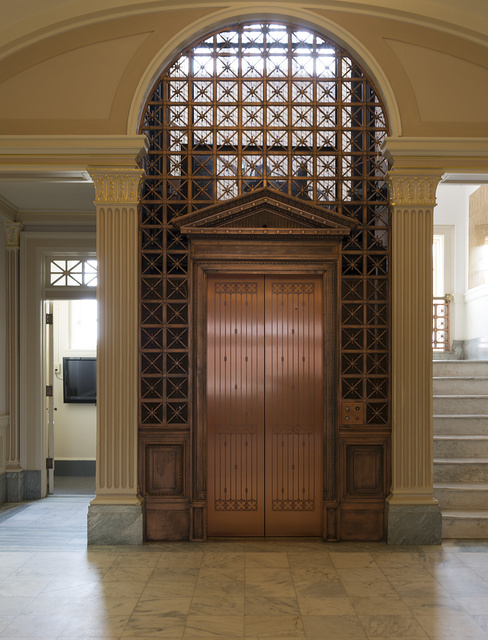 One of the few brass/copper cage elevators left in the country, at the Regional Arts Center, home of the Regional Arts and Humanities Council in what was the original Federal District Courthouse in Texarkana, Texas