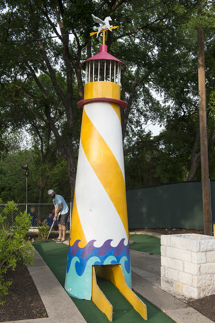 One of the outsized obstacles at the Peter Pan miniature-golf course in Austin, Texas