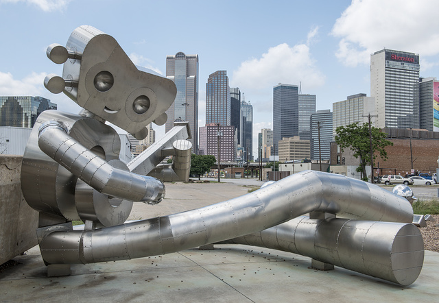 """One of three settings in an art installation called """"Traveling Man"""" in Deep Ellum, a neighborhood composed largely of arts and entertainment venues near downtown in Old East Dallas, Texas"""