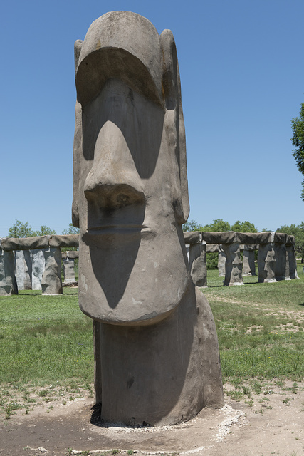 """One of two fabricated Moai, or Easter Island (Rapa Nui/Isla de Pascua) statues that were added to """"Stonehenge II"""" in the Texas Hill Country"""