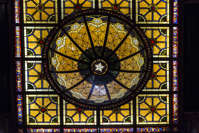 Ornate interior skylight inside historic Driskill Hotel in downtown Austin, Texas (note the Texas Lone Star as its centerpoint)
