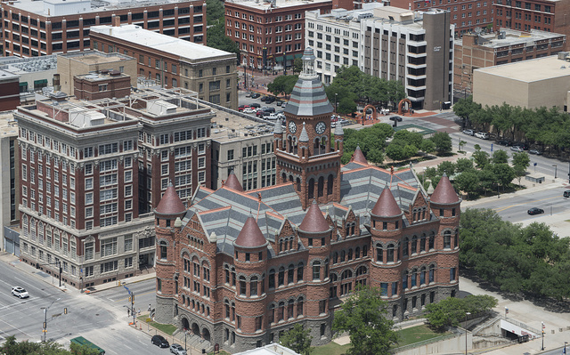 """Overhead view of the former Dallas County Courthouse, fondly known locally as the """"Old Red Courthouse,"""" now a museum in downtown Dallas, Texas"""