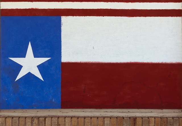 Painting of the Texas flag on a building in Albany, Texas, seat of Shackelford County