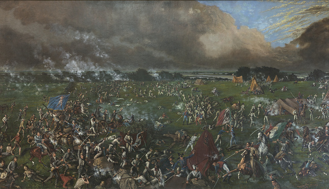 "Painting, ""The Battle of San Jacinto,"" hanging in the Senate Chamber of the Texas State Capitol in Austin"