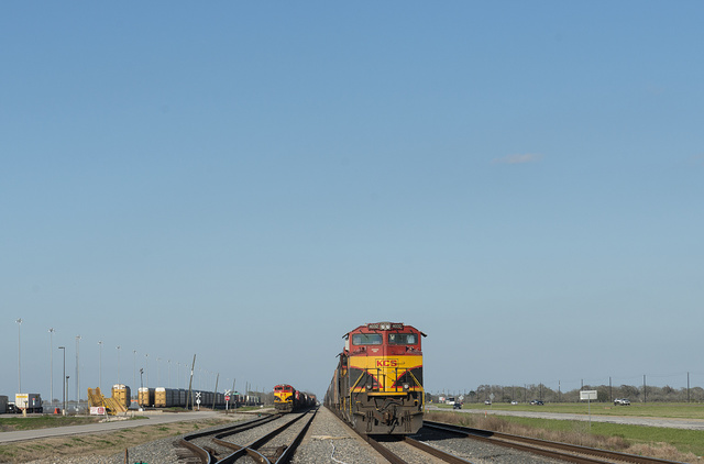 Parked freight trains at the Kansas City Southern yards in Wharton County in southeast Texas