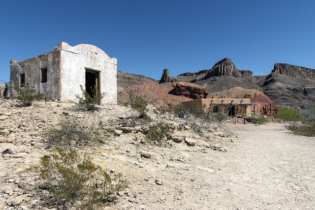 "Part of a much-used, now-abandoned ""western"" movie set along the Rio Grande River in Big Bend Ranch State Park in lower Brewster County, Texas"