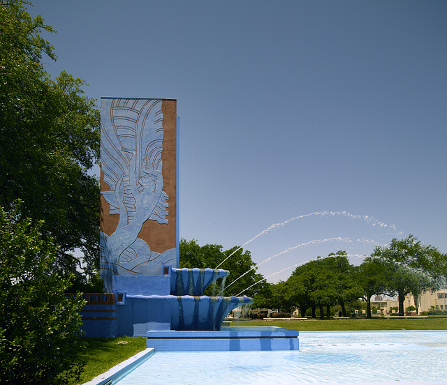 Part of Fair Park Esplanade, a 700-foot-long reflecting pool capped with three fountains, at Fair Park, site of the 1936 Texas Centennial celebration and the Pan-American Exposition in 1937 in Dallas, Texas