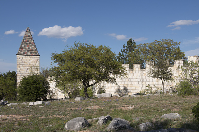 Part of the grounds at Falkenstein Castle, built from scratch as a residence by Kim and Terry Young in the hills below Burnet in the Texas Hill Country