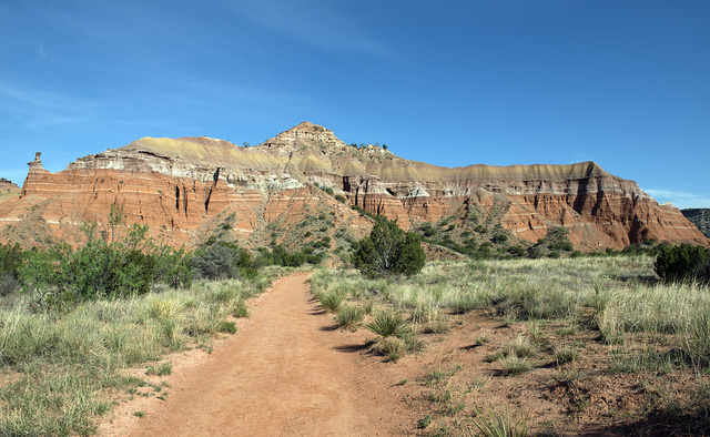 Path and rock formations in Palo Duro Canyon State Park in the Texas panhandle