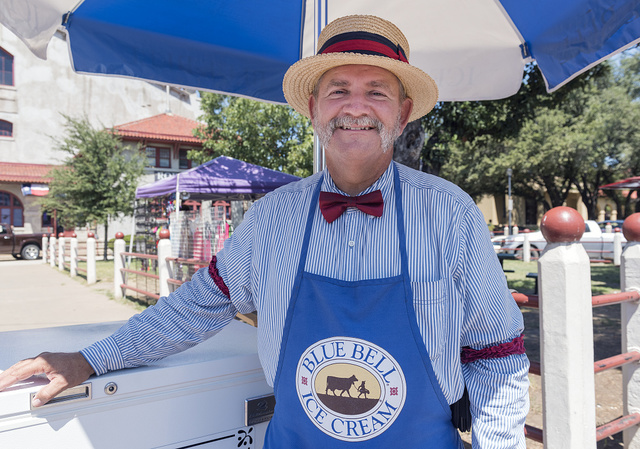 """Paul O'Flaherty of Weatherford, Texas, is the """"Blue Bell (ice cream) Man"""" in the Stockyards District of Fort Worth, Texas"""