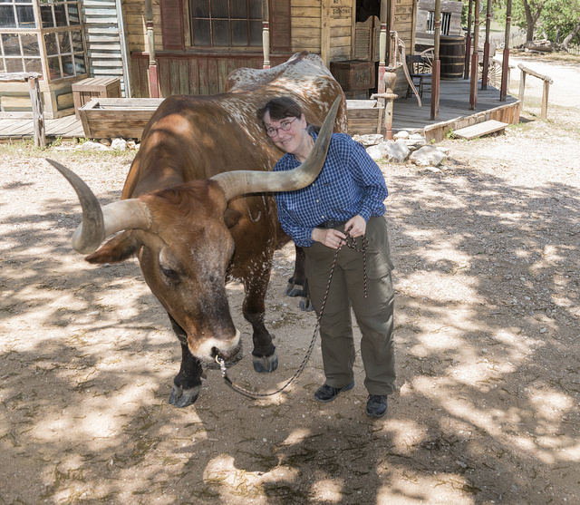 Photographer Carol M. Highsmith gets her moment before the camera, alongside a new, long-horned friend, at the Enchanted Springs Ranch, an Old West theme park, special-events venue, and frequent movie and television commercial set in Boerne, Texas, northwest of San Antonio