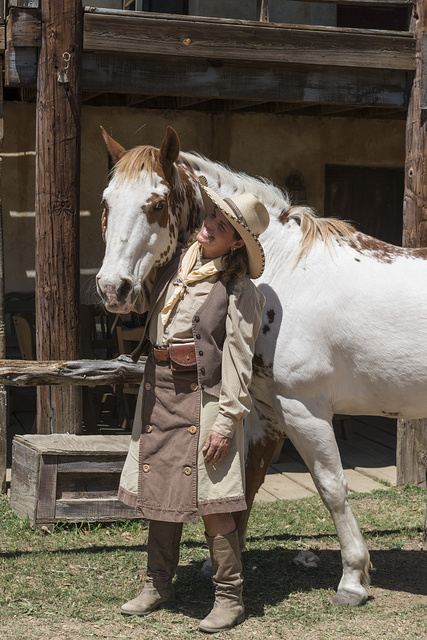 """Pistol-packin' Paula"" Saletnik, whose gun-twirling and-tossing exhibitions channel Annie Oakley at the Enchanted Springs Ranch, a working ranch in Boerne, Texas, whose Old West Town is often used in movies and videos"