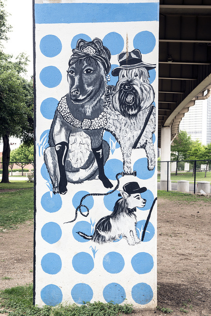 """Pooch-themed art at the Deep Ellum """"bark park,"""" an off-leash dog park in Deep Ellum, a neighborhood composed largely of arts and entertainment venues near downtown in Old East Dallas"""