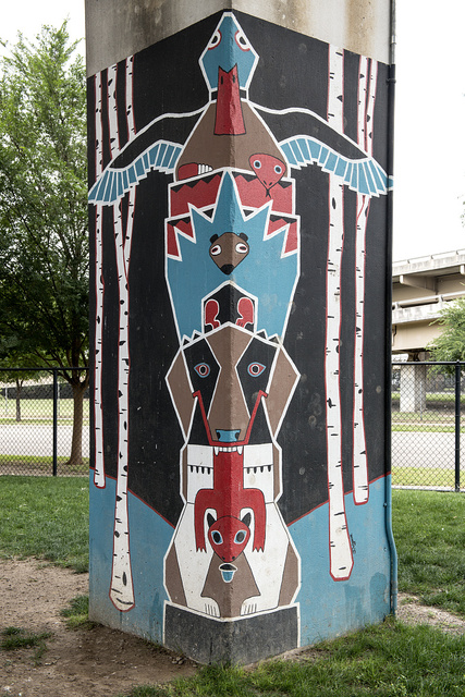 """Pooch-themed art at the Deep Ellum """"bark park,"""" an off-leash dog park in Deep Ellum, a neighborhood composed largely of arts and entertainment venues near downtown in Old East Dallas, Texas"""