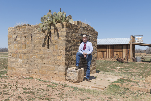 Rancher (and noted chuckwagon cook) Cliff Teinert at the Fort Griffin townsite, near the U.S. Army's frontier post of Fort Griffin in Shackelford County, Texas