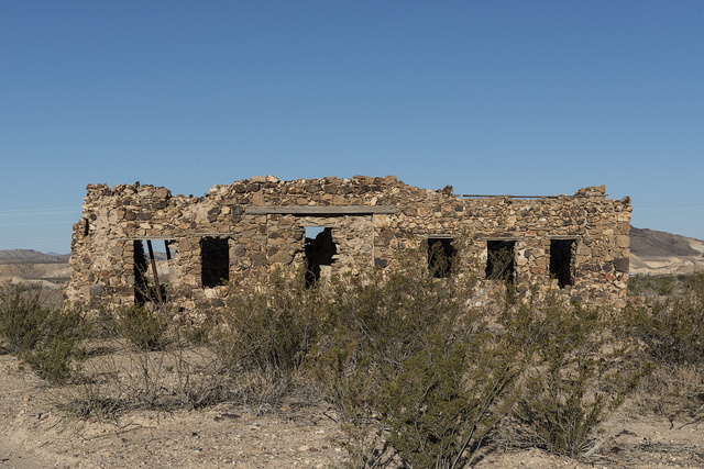 Remnants of an old stone house in the small settlement of Terlingua, Texas, just north of Big Bend National Park in Brewster County