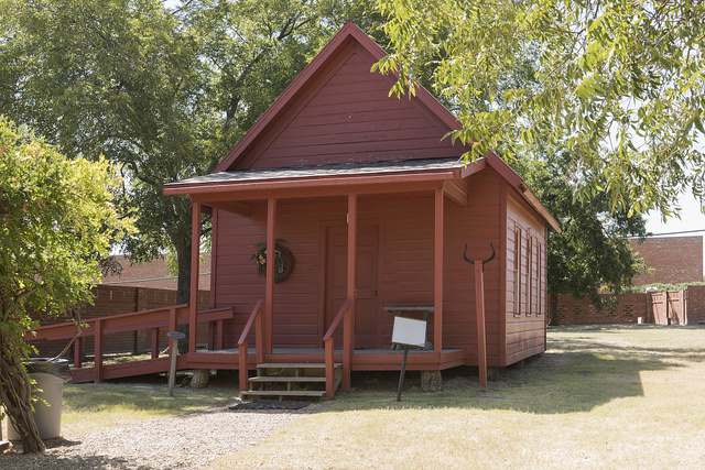 Replica of a one-room schoolhouse from Ponder in Denton County, Texas, at the Heritage Farmstead Museum, a living-history site interpreting the Texas Blackland Prairie region in North Texas in Plano, a northern suburb of Dallas, Texas