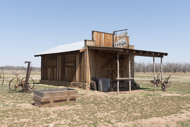 Replicated blacksmith shop at the Fort Griffin townsite, near the U.S. Army's frontier post of Fort Griffin in Shackelford County, Texas