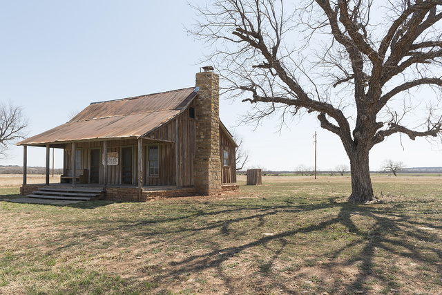 Replicated frontier cabin at the Fort Griffin townsite, near the U.S. Army's frontier post of Fort Griffin in Shackelford County, Texas