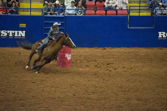 Barrel Racing At Rodeo Austin The City S Annual Stock
