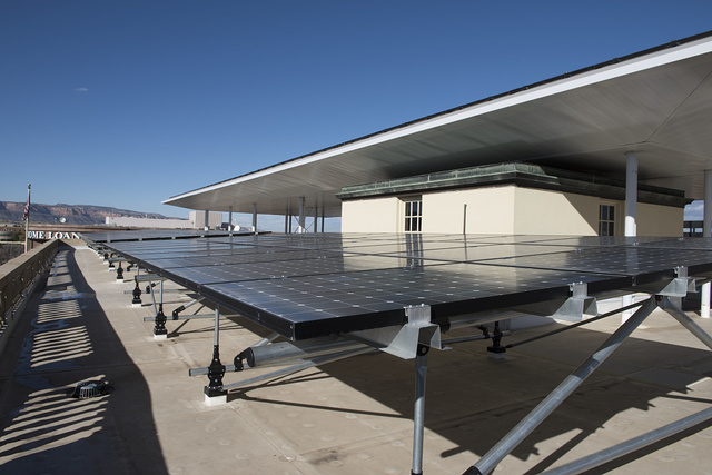 Roof solar panels. Wayne N. Aspinall Federal Building and U.S. Courthouse, Grand Junction, Colorado