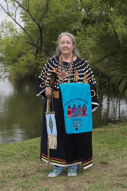 Rose Mary De Luna, a participant at the Celebrations of Traditions Pow Wow, an official Native American Pow Wow that is part of the annual, month-long Fiesta San Antonio in Texas
