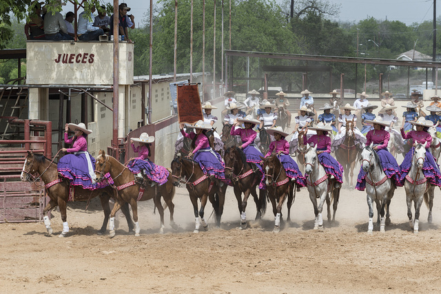 "Scene from a Mexican-style rodeo, or Charreria, at ""A Day in Old Mexico,"" part of the annual, monthlong Fiesta celebration in San Antonio, Texas"
