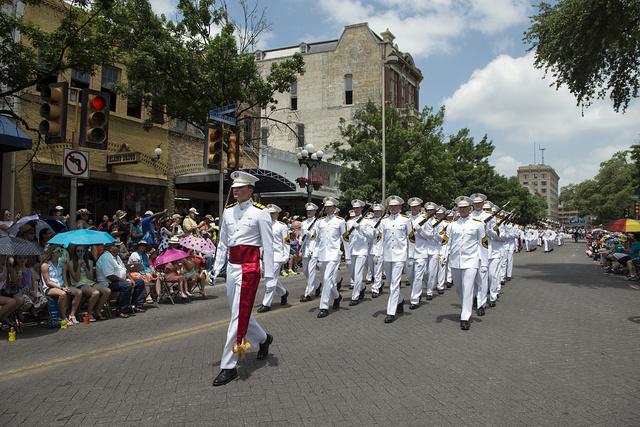 "Scene from the ""Battle of Flowers"" parade, part of the monthlong Fiesta San Antonio celebration in Texas"