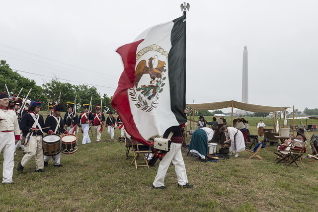 Scene from the Mexican encampment at the annual Battle of San Jacinto Festival and Battle Reenactment, a living-history retelling and demonstration of the historic Battle of San Jacinto in La Porte, Texas