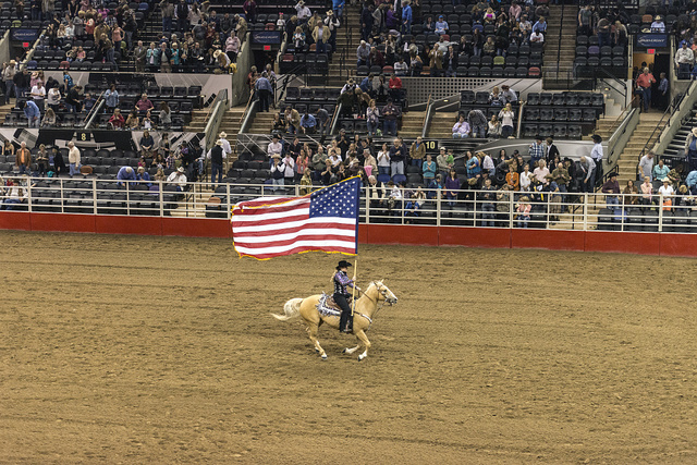 Scene from the opening grand parade at the San Antonio Stock Show and Rodeo in San Antonio, Texas