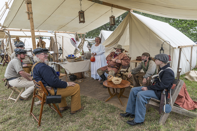 Scene from the Texan encampment at the annual Battle of San Jacinto Festival and Battle Reenactment, a living- history retelling and demonstration of the historic Battle of San Jacinto, La Porte, Texas