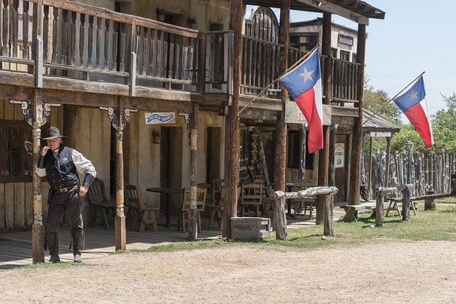 """Sheriff"" Steve Schmidt, a rancher, costumed presenter, and owner of Old West town, an audience-participation theme park, working cattle ranch, and frequent movie, TV-commercial, and country-music video set at Enchanted Springs Ranch outside the town of Boerne, west of San Antonio in the Texas Hill Country. The locale contains more than 40 movie facades or original buildings moved from remote locations in the surrounding hills"
