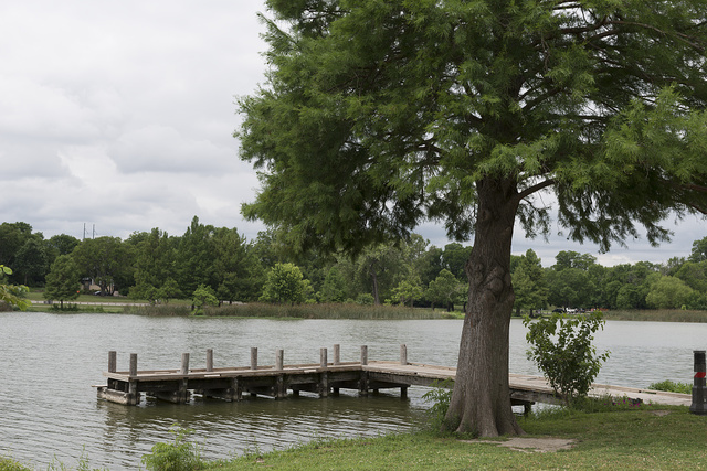 Short pier on White Rock Lake, a reservoir located in east Dallas, Texas