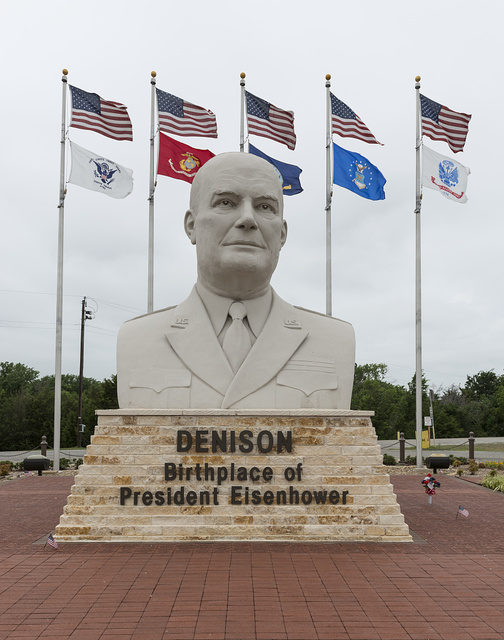 Sign and bust of former U.S. General and President Dwight D. Eisenhower located in Denison, Texas