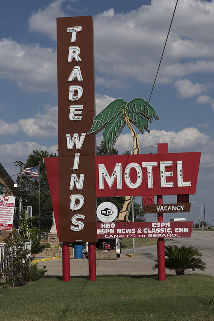 Sign for the Tradewinds Hotel in Grand Prairie, Texas, along old Texas Highway 180, which used to be the main highway between Dallas and Fort Worth
